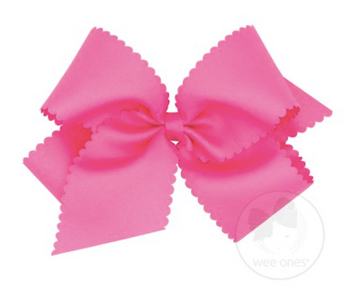 King Scalloped Edge Grosgrain Bow - Hot Pink