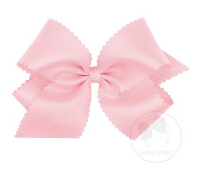 King Scalloped Edge Grosgrain Bow - Light Pink