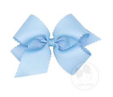 King Scalloped Edge Grosgrain Bow - MILLENNIUM BLUE