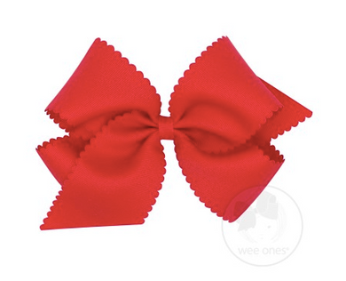 King Scalloped Edge Grosgrain Bow - Red