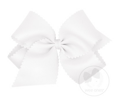 King Scalloped Edge Grosgrain Bow - White