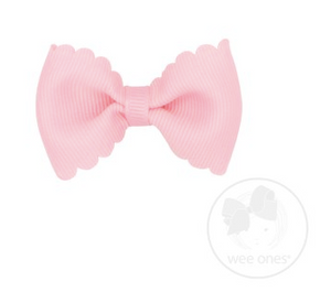 Tiny Scalloped Edge Grosgrain Bowtie - Light Pink
