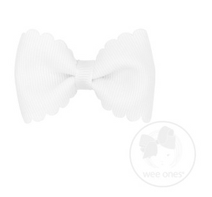 Tiny Scalloped Edge Grosgrain Bowtie - White