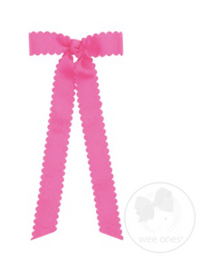 Mini Scalloped Edge Grosgrain Bow with Streamer Tails - Hot Pink