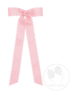 Mini Scalloped Edge Grosgrain Bow with Streamer Tails - Light Pink