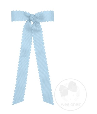 Mini Scalloped Edge Grosgrain Bow with Streamer Tails - MILLENNIUM BLUE
