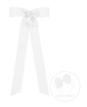 Mini Scalloped Edge Grosgrain Bow with Streamer Tails - White
