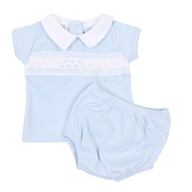 Mandy and Mason's Classics Smocked Collared Diaper Cover Set