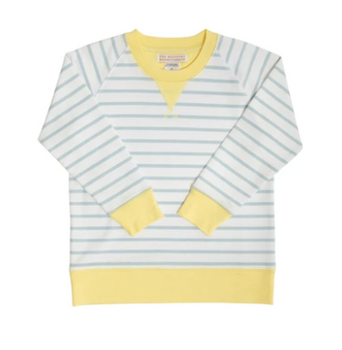 Cassidy Comfy Crewneck Boys French Terry - Buckhead Blue Stripe/Lake Worth Yellow