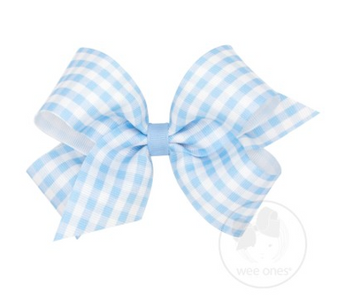 MEDIUM GINGHAM PRINT GROSGRAIN BOW - BLUE
