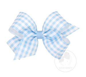 King Gingham Grosgrain Bow - Blue
