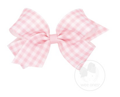 MEDIUM GINGHAM PRINT GROSGRAIN BOW - LIGHT PINK