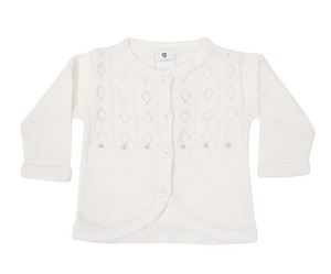 Hand Embroidered Knit Cardigan - Ivory