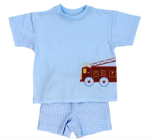 FIRETRUCK BOYS SHORT SET