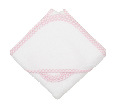 BOX HOODED TOWEL SET - BIG PINK CHECK