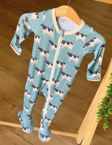 Blue Cows Footed Pajama with Zipper