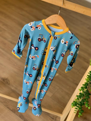 Blue Tractors Footed Pajama with Zipper