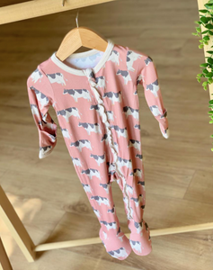 Pink Cows Footed Pajama with Zipper