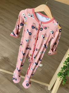 Pink Tractors Footed Pajama with Zipper