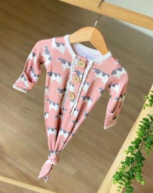 Pink Cows Infant Knotted Gown