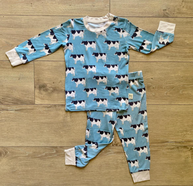 Blue Cows Long Sleeve PJ Set