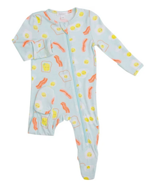 Blue Bacon And Eggs Zipper Footie