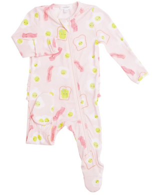 Pink Bacon And Eggs Zipper Footie