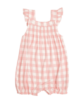 Gingham Smocked Front Overall Shortie - Pink