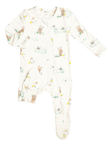 Ivory Little Farmer Boy Zipper Footie