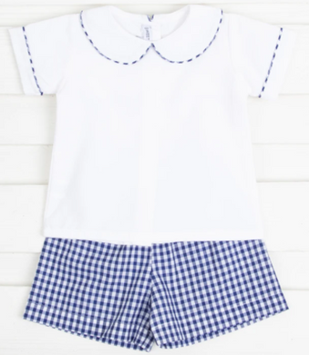 Boy Short Set - White/Royal Blue Gingham
