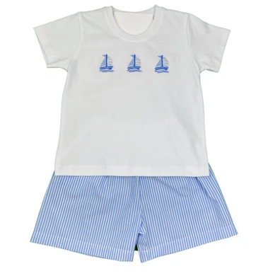 Sailboat Embroidered Boy Short Set