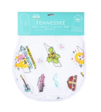 Tennessee Baby - Floral 2-in-1 Burp Cloth and Bib