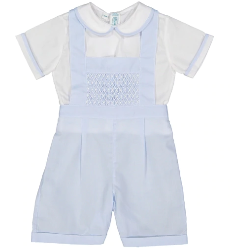 Smocked Bib Overalls Set