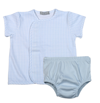 BLUE GINGHAM PIMA DIAPER COVER SET