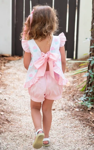 Mae Swing Bloomer Set - Cupcake Top with Pink Flutter Sleeve Tie & Bloomers