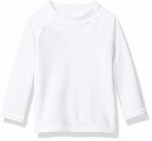 UPF 50+ Color Block Rash Guard - White