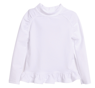 UPF 50+ Ruffle Rash Guard - White