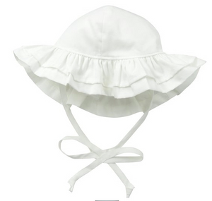 UPF 50+ Double Ruffle Hat - White