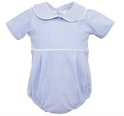 Palmer - Boys Bubble with Piped Color (Blue & White Horizontal Stripe)