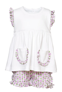 Gentry Set - Girls White Top with Pockets & Ruffled Printed Shorts (Pineapples)