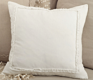 "13036 Ruffled Design Pillow - Down Filled - 20"" Square (Ivory)"