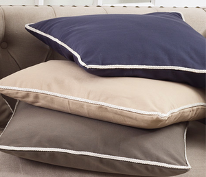 "1337 Classic Cord Trim Pillow - Down Filled - 22"" Square (Navy Blue)"