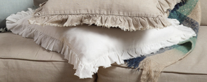 "13069 Ruffled Design Pillow - Down Filled - 20"" Square (Ivory)"