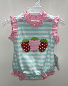Strawberry Applique Girls Bubble