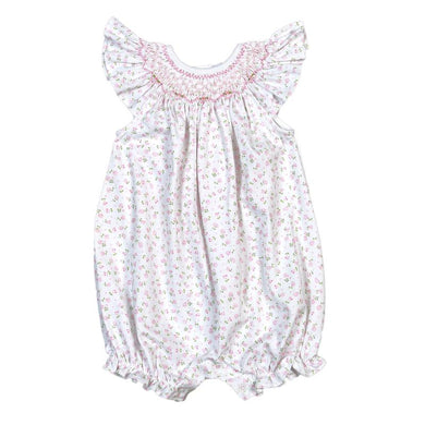 Alice Pink Floral Pima Hand Smocked Bishop Bubble