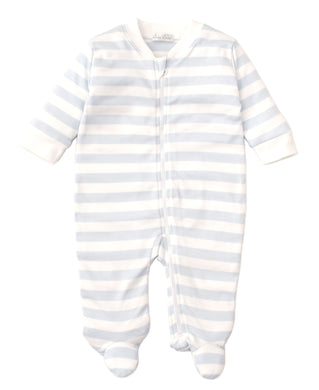 Kissy Kissy Broad Stripes Footie with Zip - Light Blue