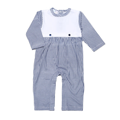 TOM NAVY BLUE GINGHAM WHITE  COLLAR PIMA PLAYSUIT