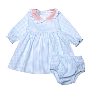 CELESTE BLUE GINGHAM BABY COLLAR PIMA DRESS W DIAPER COVER