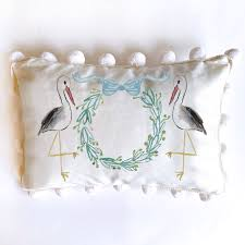 "13""x17"" Stork Pillow with large cream pompoms-blue"