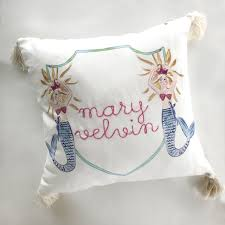 "17""x17"" Mermaid Pillow with Tassels"